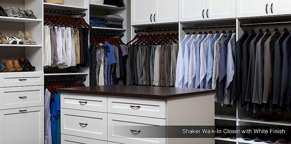Walk-In Closet with White Finish