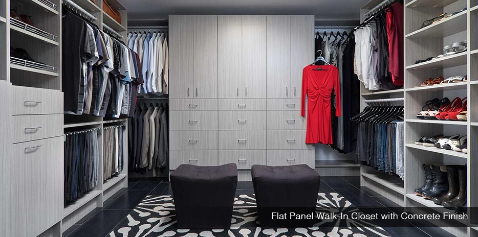 Custom Concrete Flat Panel Walk-in Closet