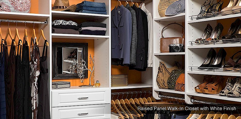 For boutique closet style, we offer raised panel drawers in a white finish for luxury walk-in closet makeovers.