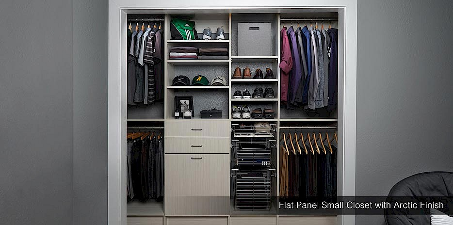 Perfect for a modern home, our arctic finish closet designs work in any size closet and match almost any style.