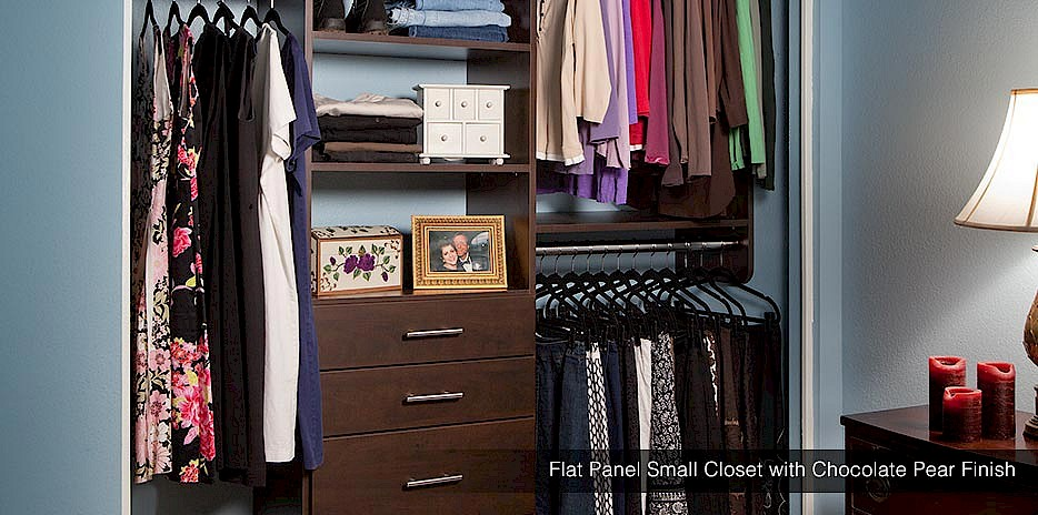 For a classic look composed with modern style, our dark chocolate pear finish is perfect for any small closet.
