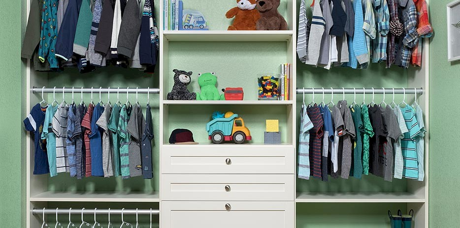 Custom Kids Closet with Antique White Finish