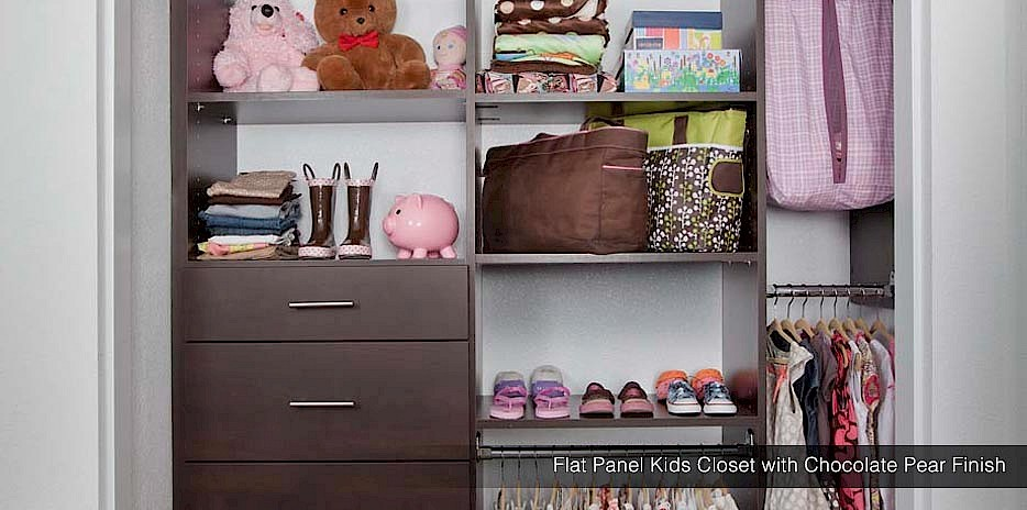 Shelves and hanging rods make it easy for kids to put away their own belongings!
