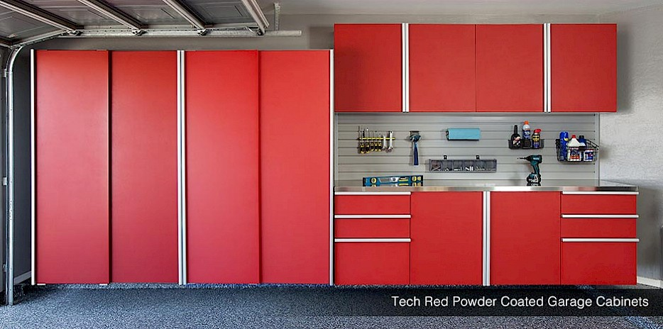 Tech Red Powder Coated Garage Cabinets!