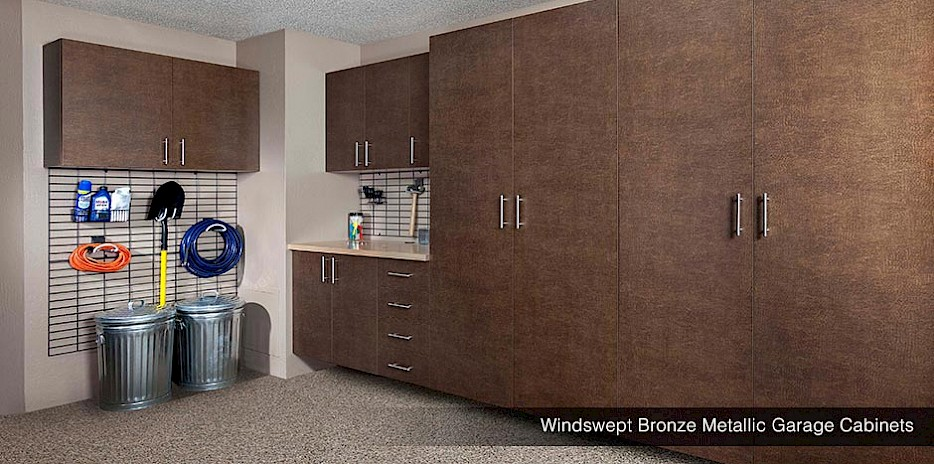 Bronze Metallic Finish Garage Cabinets and Gridwall System