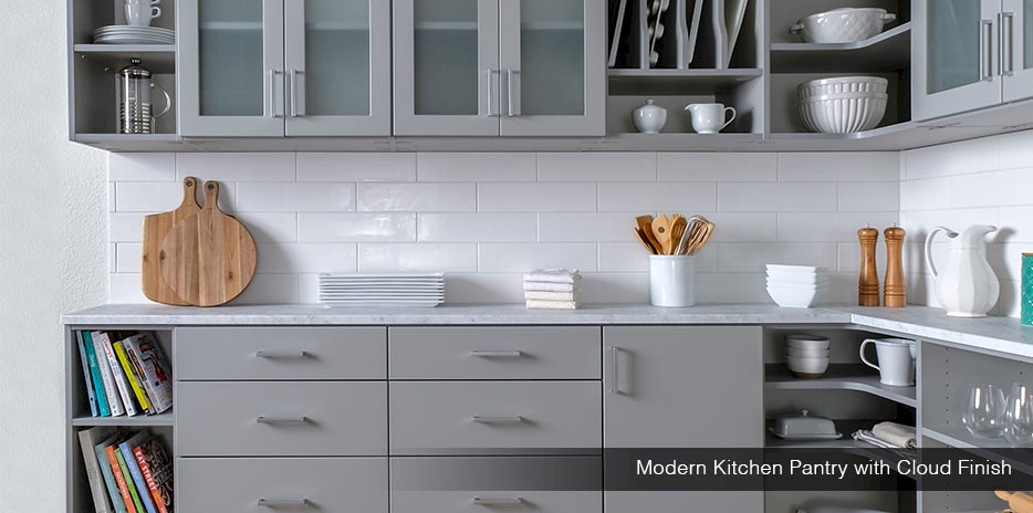 Modern Kitchen Pantry with Cloud Finish