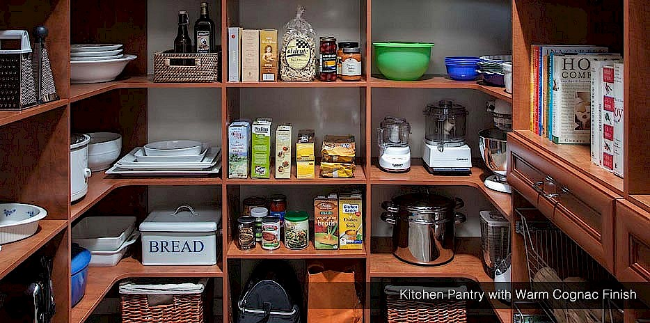Walk-in kitchen pantries can be daunting, but our custom shelves make keeping your pantry organized easy!