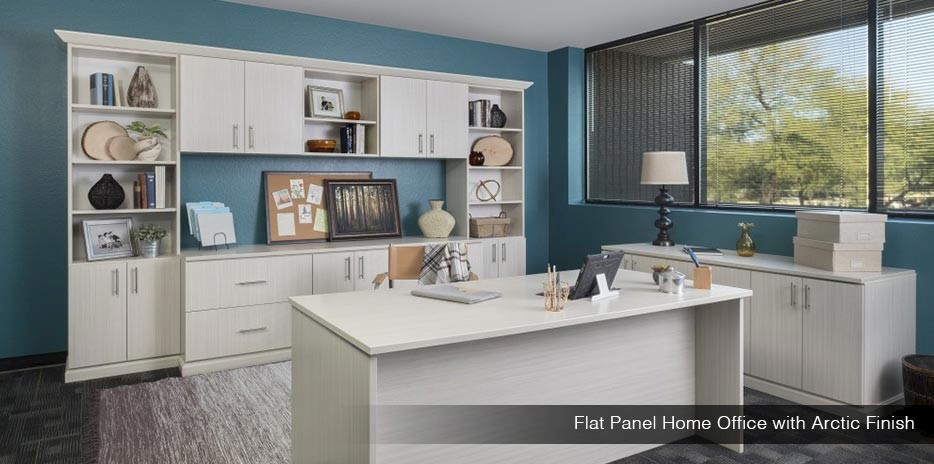 Flat Panel Home Office with Arctic Finish