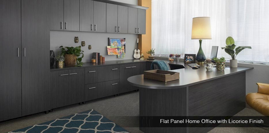 Flat Panel Home Office with Licorice Finish