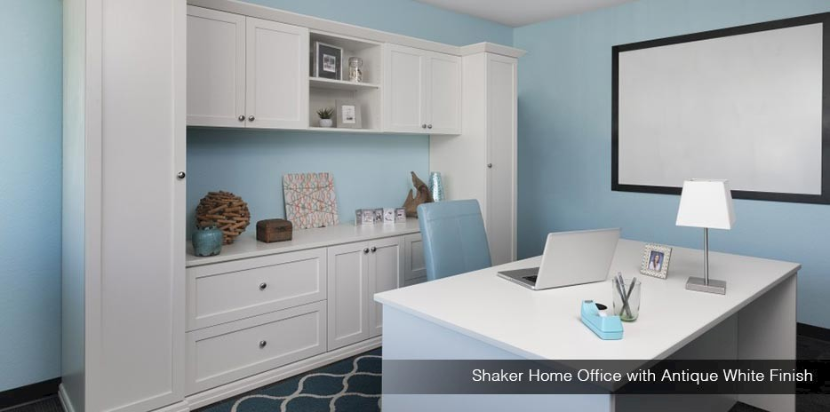 Shaker Home Office with Antique White Finish