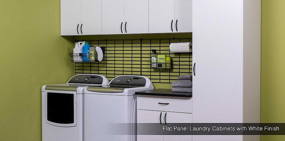 Our flat panel laundry cabinets with a white finish offer a clean, fresh look for your laundry room.