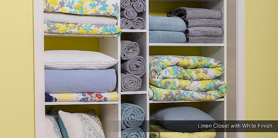 This open linen closet has adjustable shelves that can hold fresh linens, towels and blankets as well as cleaning supplies!
