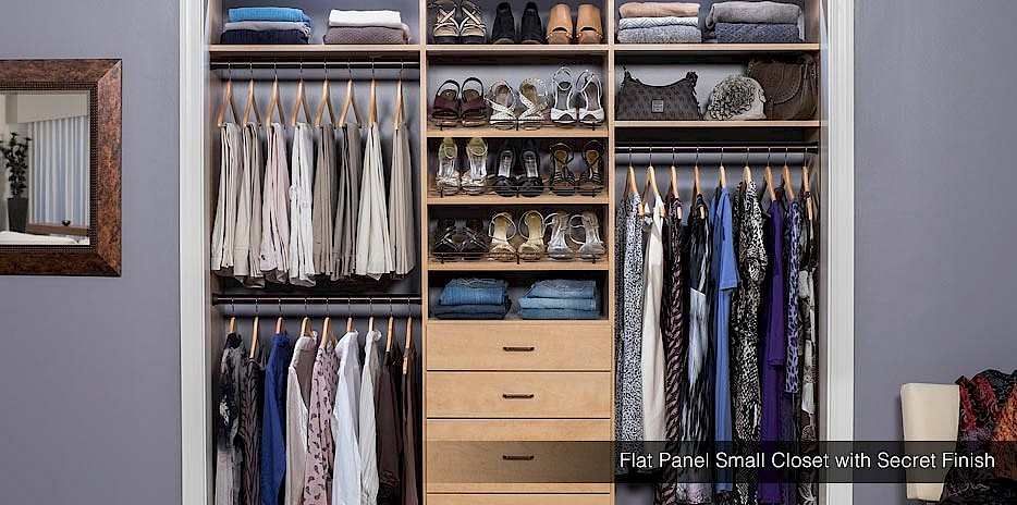 Unique and stylish - our secret finish for closet shelving systems is a traditional light wood color.