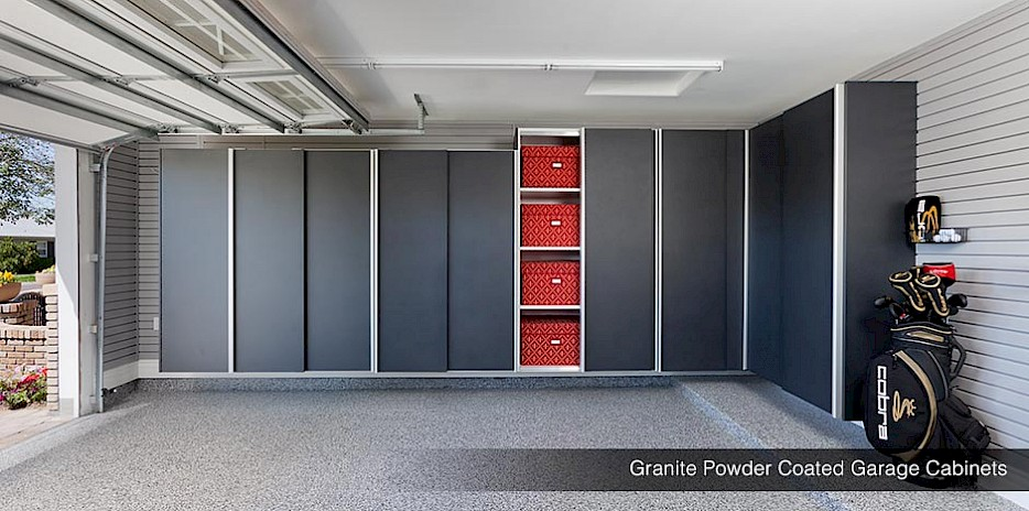 These granite powder coated cabinets make a bold statement in style and functionality.