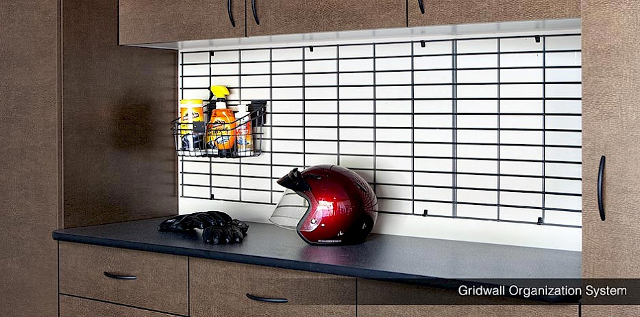 Gridwall systems come with baskets and bins, so you can store garage products that are similar together!