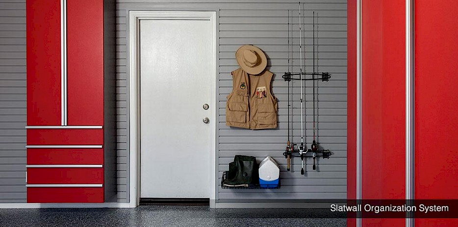 Use a slatwall system to hang everything from tools, to life vests, to fishing gear. It is a completely multi-functional storage system.