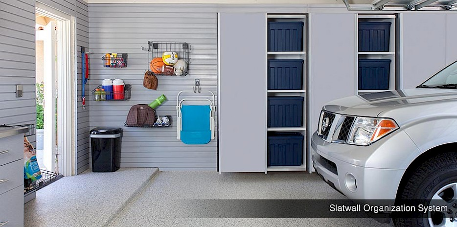 Hang sports equipment, beach chairs and more with our slatwall organization system.