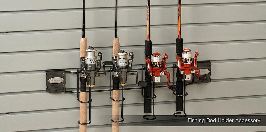 This slatwall system allows you to store your favorite rods for easy access and safe keeping.