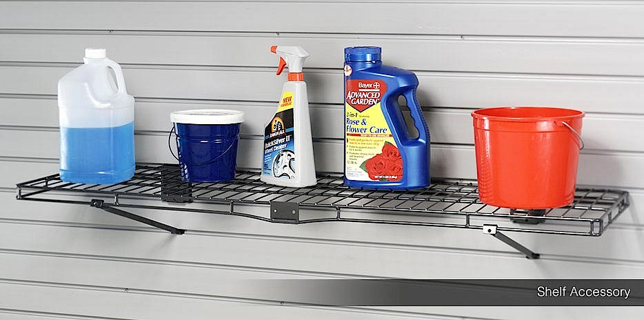 A wire rack for the slatwall organization system is the perfect accessory for cleaning products that need to be stored up high away from kids.