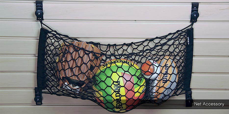 Keep your sporting gear organized and easily accessible for the kids with a hanging net for our slatwall system.