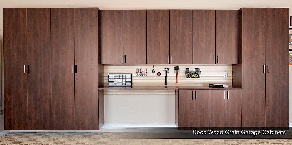 Dark Coco Wood Grain Finished For Garage Cabinets Make Your Custom A True Classic